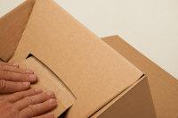 System-Versand-Transportkarton mit progressBOX Boden und Selbstklebeverschluß und Aufreißfaden - 1-wellig, DIN A4+, 310x230x160-100 mm, Braun