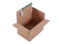 System-Versand-Transportkarton mit progressBOX Boden und Selbstklebeverschluß und Aufreißfaden - 1-wellig, DIN A4+, 310x230x210-150 mm, Braun