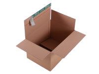 System-Versand-Transportkarton mit progressBOX Boden und Selbstklebeverschluß und Aufreißfaden - 1-wellig, 390x290x250-160 mm, Braun