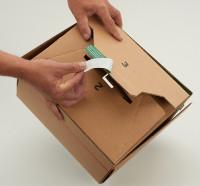 System-Versand-Transportkarton mit progressBOX Boden, Superflap und Selbstklebeverschluß und Aufreißfaden - 1-wellig, 235x115x120 mm, Braun