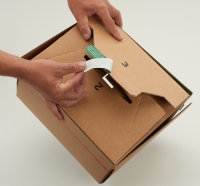 System-Versand-Transportkarton mit progressBOX Boden, Superflap und Selbstklebeverschluß und Aufreißfaden - 1-wellig, 235x205x145 mm, Braun