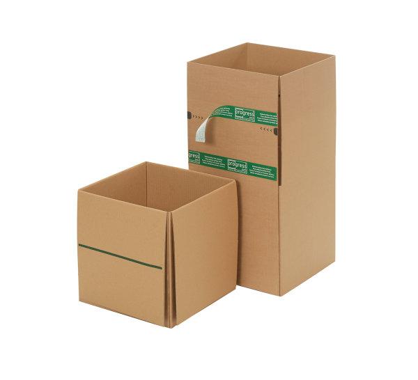 System-Versand-Transportkarton mit progressBOX Boden, Superflap und Selbstklebeverschluß und Aufreißfaden - 1-wellig, 284x284x284 mm, Braun