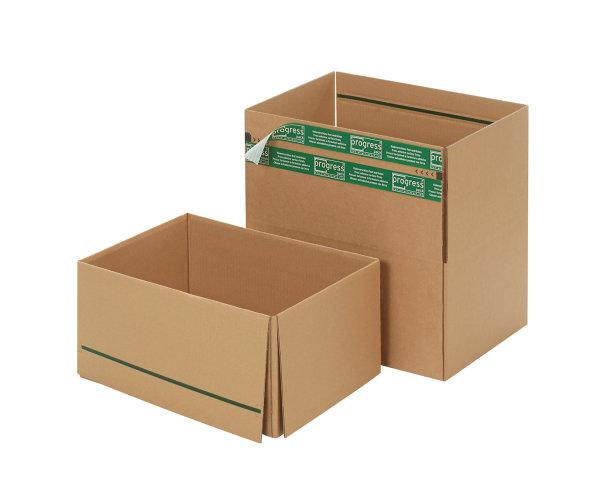System-Versand-Transportkarton mit progressBOX Boden, Superflap und Selbstklebeverschluß und Aufreißfaden - 1-wellig, 384x284x187 mm, Braun