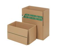 System-Versand-Transportkarton mit progressBOX Boden, Superflap und Selbstklebeverschluß und Aufreißfaden - 2-wellig, 476x276x272 mm, Braun