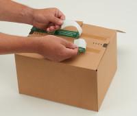 System-Versand-Transportkarton mit progressBOX Boden, Superflap und Selbstklebeverschluß und Aufreißfaden - 2-wellig, 574x379x430 mm, Braun
