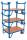 Rollplatte mit 2 Stirnwänden, 500 kg Traglast, 1000 x 700 mm, blau