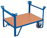 Rollplatte mit 2 Stirnwänden, 500 kg Traglast, 1200 x 800 mm, blau