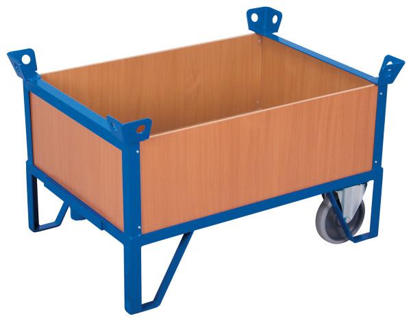 Rollplatte mit 4 Wänden, 500 kg Traglast, 990 x 685 mm, blau