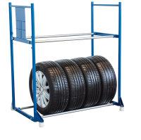 Reifenregal mit 2 Etagen, 300 kg Traglast, 1145 x 395 mm, blau