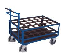 Stahlflaschenwagen mit Totmannbremse, 500 kg Traglast, 1120 x 760 mm, blau