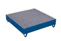 Auffangwanne mit Gitterrost für 4 Fässer a 200 l, 1000 kg Traglast, 1190 x 1190 mm, blau