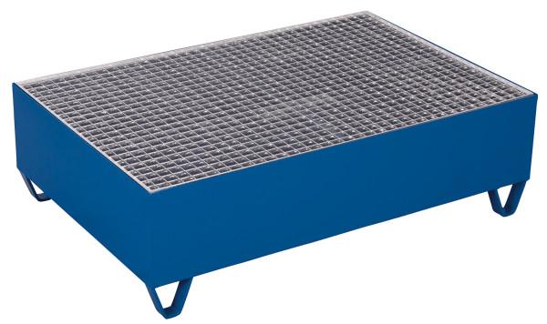 Auffangwanne mit Gitterrost für 2 Fässer a 200 l, 500 kg Traglast, 1190 x 790 mm, blau