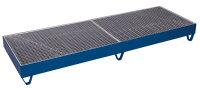 Auffangwanne mit Gitterrost für 4 Fässer a 200 l, 1000 kg Traglast, 2380 x 790 mm, blau