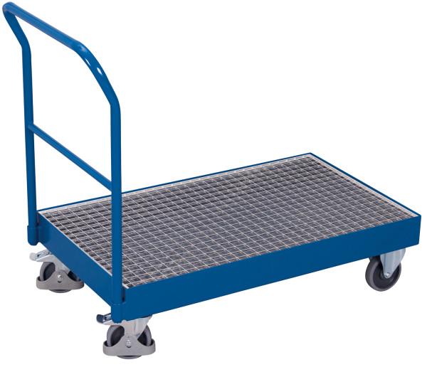 Schiebebügelwagen mit Auffangwanne, 250 kg Traglast, 990 x 590 mm, blau