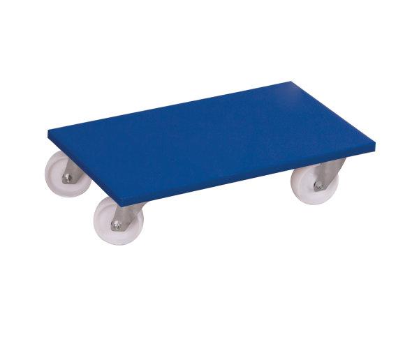 Möbelhund mit Kunststofflenkrollen, 500 kg Traglast, 600 x 350 mm, blau
