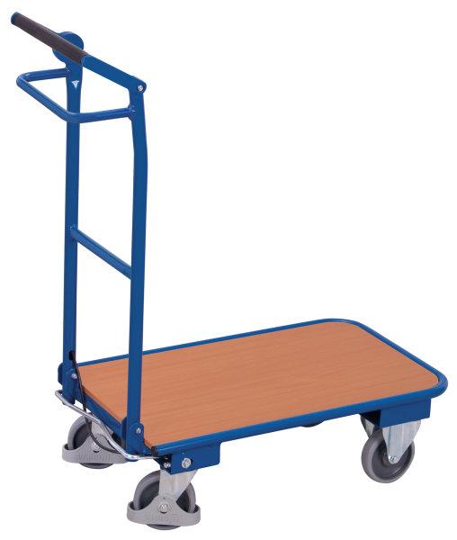 Klappbügelwagen mit Totmannbremse, 150 kg Traglast, 720 x 450 mm, blau