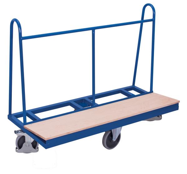 Plattenwagen mit rhombischer Rollenanordnung, 500 kg Traglast, 1500 x 370 mm, blau