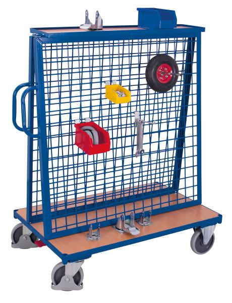 Werkstückwagen mit Ablage, 500 kg Traglast, 1260 x  mm, blau