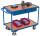 Tischwagen mit 2 Ladeflächen und 2 Schubladen, 250 kg Traglast, 985 x 605 mm, blau