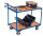 Tischwagen mit 2 Ladeflächen und Totmannbremse, 250 kg Traglast, 985 x 605 mm, blau