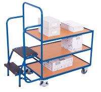 Kommissionierwagen mit 3 Ladeflächen, niedrig, 250 kg Traglast, 985 x 605 mm, blau