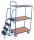 Kommissionierwagen mit 3 Ladeflächen, hoch, 250 kg Traglast, 985 x 605 mm, blau