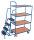 Kommissionierwagen mit 4 Ladeflächen, hoch, 250 kg Traglast, 985 x 605 mm, blau