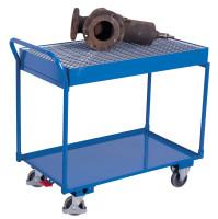 Tischwagen mit 2 Ladeflächen und Gitterrost, 250 kg Traglast, 995 x 595 mm, blau