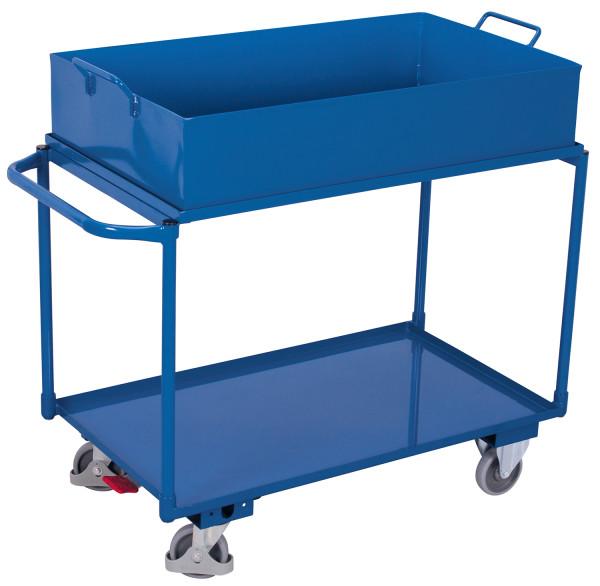 Tischwagen mit 2 Ladeflächen und abnehmbarer Wanne, 250 kg Traglast, 995 x 595 mm, blau
