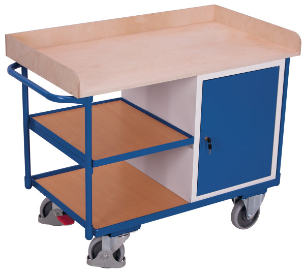 Werkstattwagen mit 3 Ladeflächen, 400 kg Traglast, 1125 x 630 mm, grau