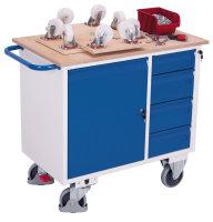Werkstattwagen mit 4 Schubladen, 400 kg Traglast, 1000 x 600 mm, grau