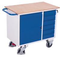 Werkstattwagen mit 6 Schubladen, 400 kg Traglast, 1000 x 600 mm, grau