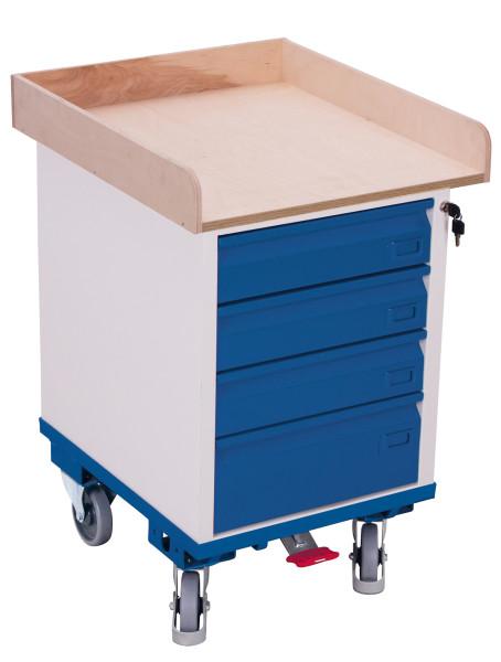 Schubladenschrank mit 1 Ladefläche, 150 kg Traglast, 550 x 650 mm, grau