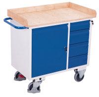 Werkstattwagen mit 4 Schubladen und Rand, 400 kg Traglast, 1000 x 600 mm, grau