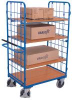 Etagenwagen hoch mit Totmannbremse, 500 kg Traglast, 1000 x 700 mm, blau