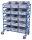 Eurokastenwagen mit 15 Kunststoffkästen, 250 kg Traglast, 1240 x 610 mm, blau