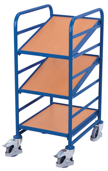 Eurokastenwagen mit 3 Holzböden, 200 kg Traglast, 410 x 610 mm, blau