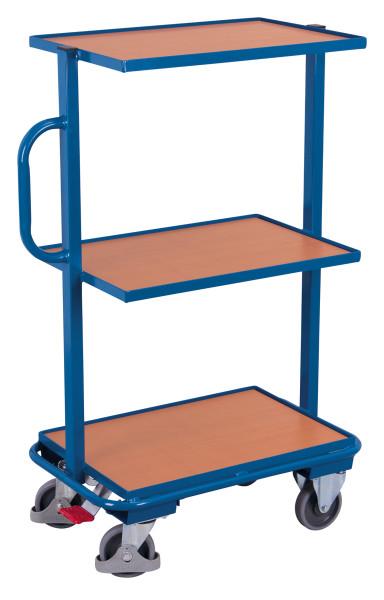 Beistellwagen mit 3 Holzböden, 200 kg Traglast, 610 x 410 mm, blau