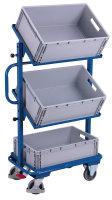 Beistellwagen mit 3 Kunststoffkästen, neigbar, 200 kg Traglast, 610 x 410 mm, blau