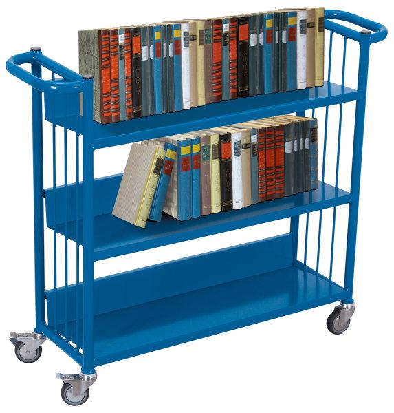 Büchertransportwagen, 150 kg Traglast, 830 x 265 mm, blau