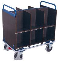 Aktenwagen mit 12 Fächern, Außenmaße: 1.105 x 700 x 1.185 mm (B/T/H), Ladehöhe: 345 / 710 mm