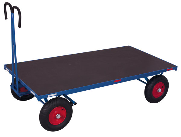 Handpritschenwagen ohne Bordwand, 1000 kg Traglast, 2000 x 1000 mm, blau