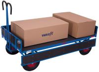 Handpritschenwagen mit Bordwand, 1000 kg Traglast, 1585 x 780 mm, blau