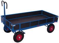 Handpritschenwagen mit Bordwand, 1000 kg Traglast, 1985 x 980 mm, blau