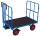 Handpritschenwagen mit 2 Rohrgitterwänden, 700 kg Traglast, 940 x 700 mm, blau