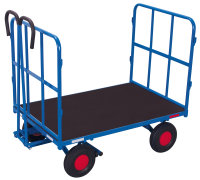 Handpritschenwagen mit 2 Rohrgitterwänden, 700 kg Traglast, 1140 x 800 mm, blau