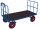 Handpritschenwagen mit 2 Rohrgitterwänden, 1000 kg Traglast, 1140 x 800 mm, blau