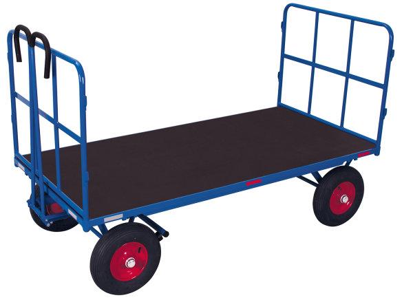 Handpritschenwagen mit 2 Rohrgitterwänden, 1000 kg Traglast, 1540 x 800 mm, blau