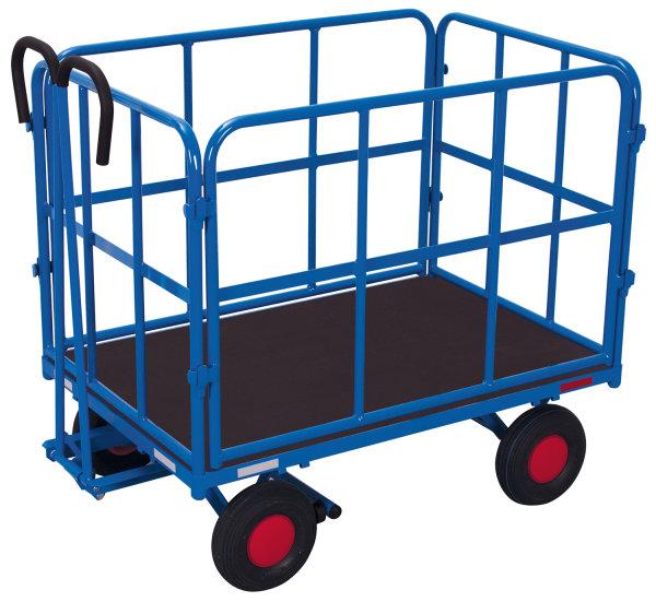 Handpritschenwagen mit 4 Rohrgitterwänden, 700 kg Traglast, 940 x 640 mm, blau