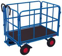 Handpritschenwagen mit 4 Rohrgitterwänden, 700 kg Traglast, 1140 x 740 mm, blau